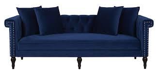 Jasmine Chesterfield Sofa, Navy Blue - Jennifer Taylor Home