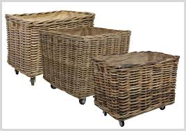 log baskets with wheels