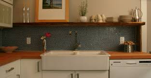 ... ModDotz Navy Blue Penny Round Mosaic Porcelain Tile Kitchen Backsplash  Installation ...