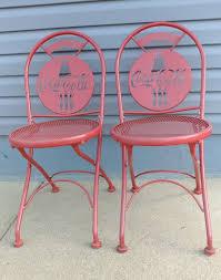 two vintage always coca cola metal bistro folding chairs indoor outdoor