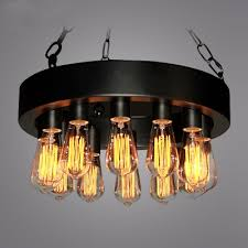industrial vintage style chandelier in black finish with edison bulb 12 lights downlighting