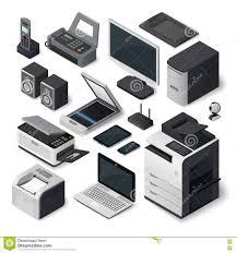 Office Machines List Resume Isometric Office Equipment Stock Illustrations 3 058 Isometric