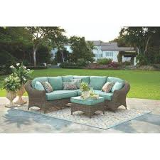 green resin wicker outdoor furniture. lake adela 4-piece weathered gray all-weather wicker patio sectional set with surf green resin outdoor furniture
