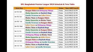 Bpl Bangladesh Premier League 2019 Schedule Time Table