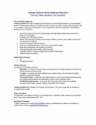Preschool Teacher Assistant Job Description Resume Inspirational