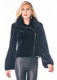 genuine real sheared mink fur jacket motorcycle biker jacket