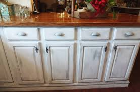 image of how to distress kitchen cabinets with chalk paint