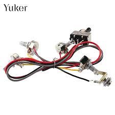 yuker wiring harness 2v 2t 3 way pickups toggle switch 500k pots dual xdvd110bt wiring harness replacement at Dual Wiring Harness Replacement