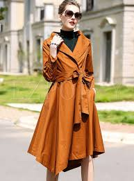 chic asymmetric belted long trench coat