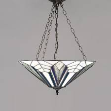 interiors 1900 astoria tiffany large inverted ceiling pendant light in art deco style 63936 lighting from the home lighting centre uk