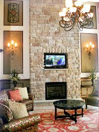 stone fireplace wall with inset tv