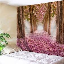 sakura scenery throw fabric wall hanging tapestry pink w71 inch l91 inch