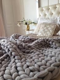 Chunky Knit Throw Blanket Grey
