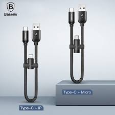 <b>Baseus</b> Short 2 in 1 <b>Lightning</b>/Micro USB Female Type C <b>Male</b> ...