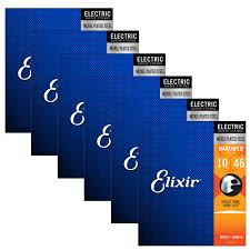 6 Sets Of Elixir 12052 Nanoweb Light Electric Guitar Strings 10 46