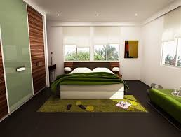 modern bedroom green. Bedroom, Romantic Fresh Greeny Bedroom Design Glass Window Green Fur Carpet Modern Furniture Large Wardrobe With Sliding Door Tile Flooring E