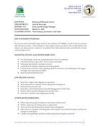 Catering Job Description Resume Server Job Description For Resume Restaurant Elemental Pics 24 8