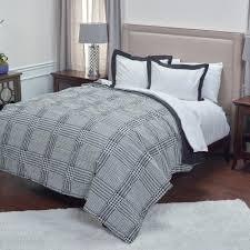 black houndstooth pattern 3 piece queen bed set