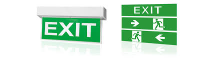 sufficient emergency lighting of adequate intensity must be provided along escape routes near changes of direction at emergency exit doors at stairs