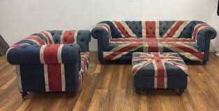 union jack furniture. Union Jack Furniture For Sale 3 Seater Settee, Chair Footstool Union Jack Furniture I