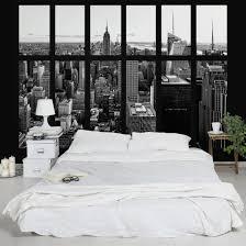 Fototapete New York Fenster Manhattan Skyline Schwarz Weiss
