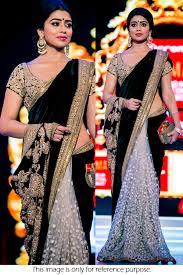 Latest Velvet Saree Designs Bollywood Style Shriya Saran Velvet And Net Saree In Black And Off White Colour Nc2055