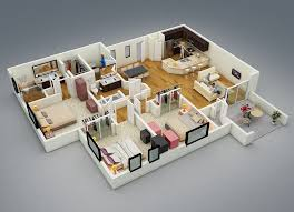 Small 3 Bedroom Cabin Plans 25 More 3 Bedroom 3d Floor Plans House Plans Design And House