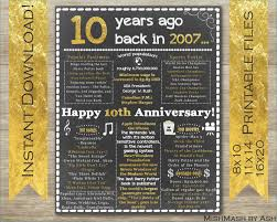 10 year wedding anniversary t ideas for him best of 20th wedding