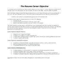 Resume Examples For Career Change Career Objective Examples For