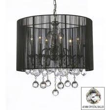 empress crystal 6 light chrome chandelier with large black shade harrison lane