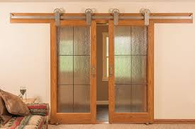 neuenschwander red oak 6 lite leaded rain glass interior doors