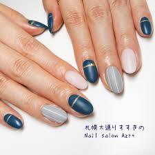 ネイビーグレーのストライプネイル Nail Salon Azt