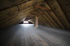 Empty Attic with Insulation on Roof