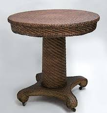 round wicker end table nineteenth century natural wicker end table bearing a label the table features round wicker end table