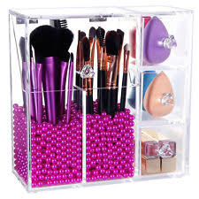 clear gl acrylic lifewit brush holder dustproof box makeup acrylic organizer with rosy peals