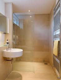 Desain Kamar Mandi Sempit Minimalis Ukuran Kecil Yang Cantik - Beige bathroom designs