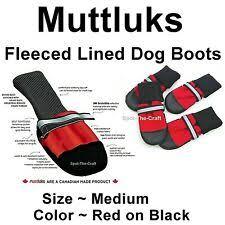 Muttluks Dog Boots Fleece Lined Medium Red Flmr Ebay