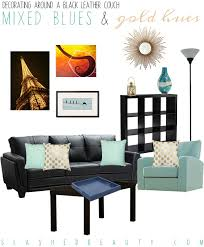 decorating around a black leather couch