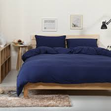 4pcs 100 cotton jersey knitted fabric muji style solid color navy blue duvet cover set dark blue soft ed bed sheet in bedding sets from home garden