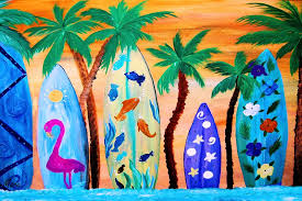surfboards and palm trees beach door