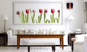 Wall Art Ideas For Living Room Living Room Wall Decorating Ideas Tulips  Painting