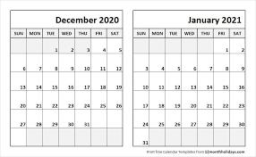 Dec 2020 Jan 2021 Calendar Template Calendar March Print