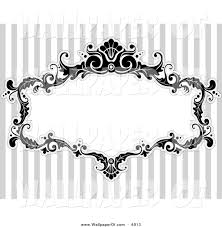 victorian frame design. Wallpaper Of A Black And White Floral Victorian Frame Over Gray Stripes Design