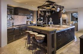 dark cabinet kitchen designs. Rustic Chefs Kitchen With Dark Cabinets, Wood Breakfast Bar And Large Island Cabinet Designs