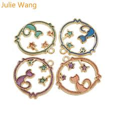 <b>Julie Wang</b> 4PCS Gold Base Enamel Cat kitty Stars Charms For ...
