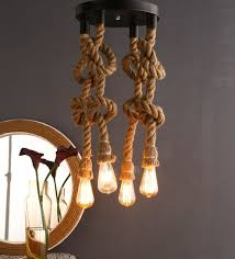 Hanging light bulbs Bare Black And Brown Rope Hanging Light With Filament Bulbs By Homesake Pepperfry Buy Black And Brown Rope Hanging Light With Filament Bulbs By