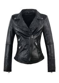 details about womens black goth punk vegan faux leather studded moto biker jacket