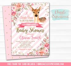 Printable Floral Deer Baby Shower Invitation Baby Fawn Baby Girl