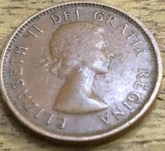 1955 1 Cent Elizabeth Ii Canada Error Coin No Strap Rare