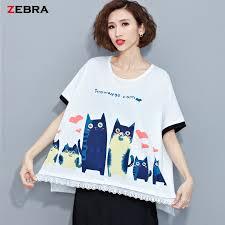 plus size women tumblr big size women summer style t shirt fashion cat pattern printing